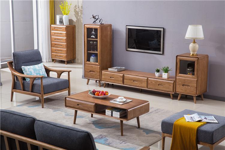 北欧风格白蜡木电视柜茶几斗柜沙发组合