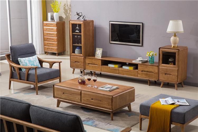 北欧家具白蜡木电视柜茶几沙发斗柜套餐