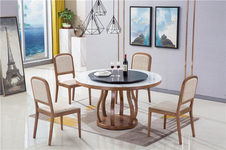 北欧家具白蜡木大理石餐桌椅组合报价