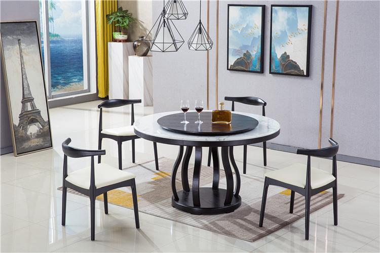 北欧家具白蜡木大理石餐桌椅组合报价2