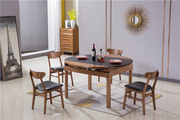 北欧风火烧石白蜡木实木餐桌椅厂家直销